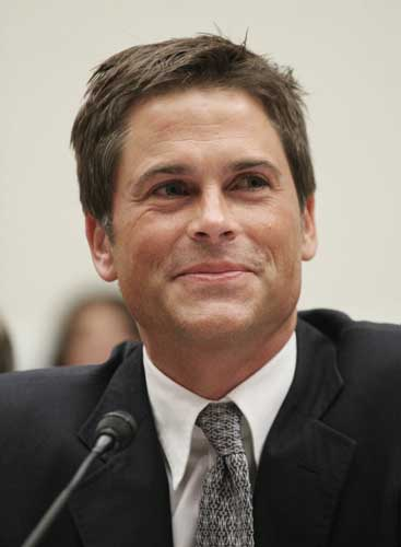 Actor Rob Lowe testifies on Capitol Hill in Washington, Thursday, July 12, 2007, before the House Select Committee on Energy Independence and Global Warming hearing on the potential of plug-in hybrid vehicles.  <span class=meta>(AP Photo&#47;Lauren Victoria Burke)</span>